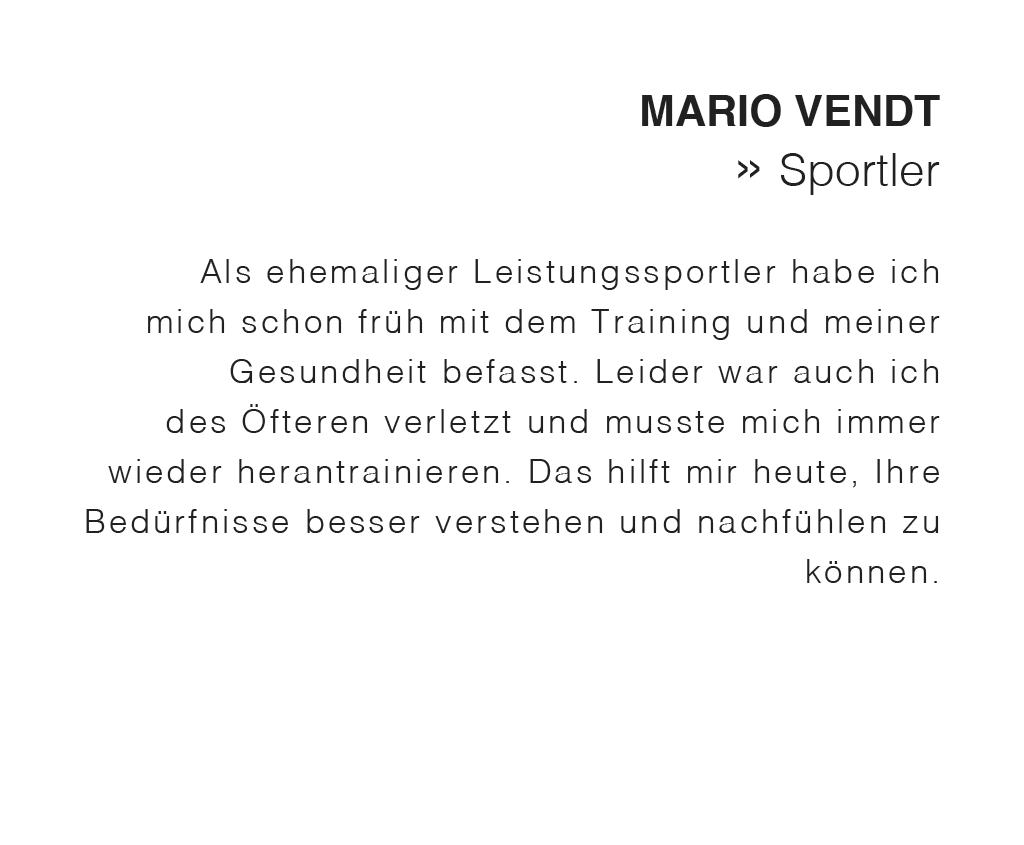 Mario Vendt ist ehemaliger Leistungssportler
