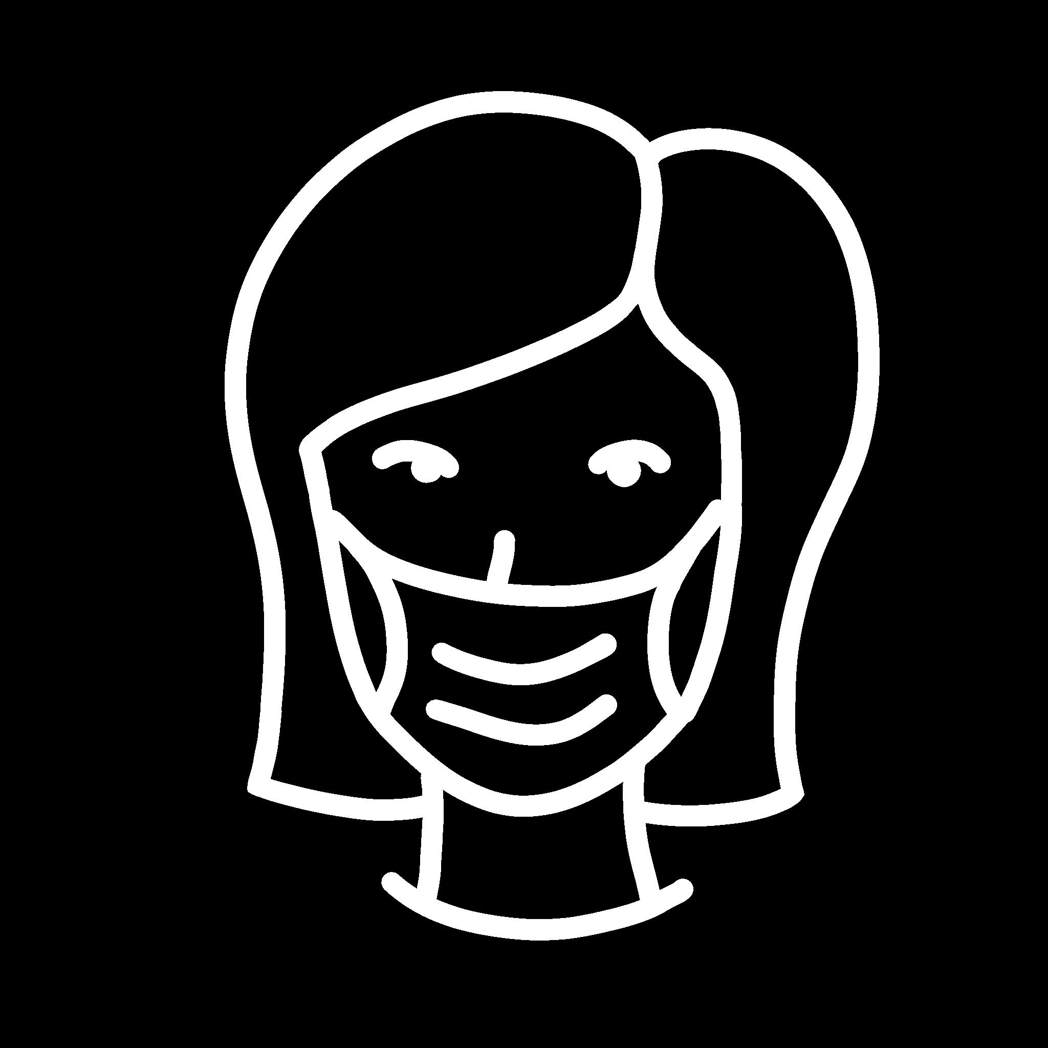 Icon: Frau trägt Mund-Nasen-Schutz wegen Covid 19